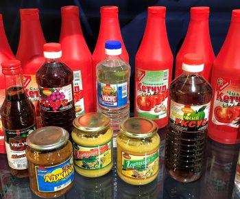 Кетчуп, соус, уксус, горчица в ассортименте
